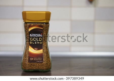 POZNAN, POLAND - MARCH 27, 2016: Nescafe Gold Blend instant coffee in a glass jar