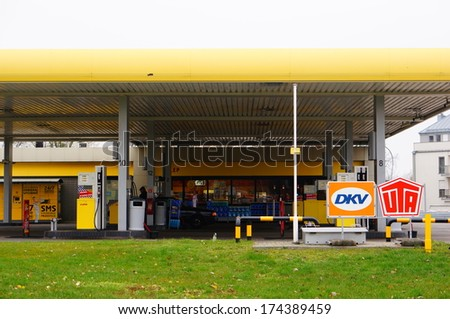POZNAN, POLAND - NOVEMBER 17, 2013: Lotos filling station at the center of the city