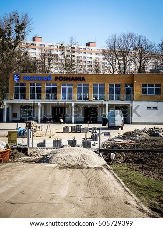 POZNAN, POLAND - OCTOBER 21, 2013: Construction in front of an new Kajak club building close by the Warta river