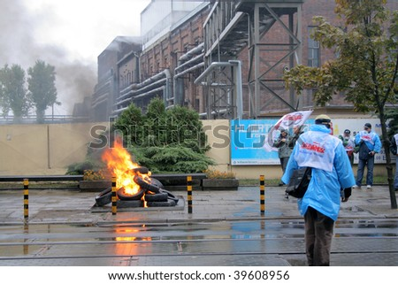 POZNAN, POLAND - OCTOBER 23: Polish 'Solidarnosc' workers from H.Cegielski factory and shipyards protests over pay, unemployment and recession on October 23, 2009 in Poznan, Poland. - stock photo