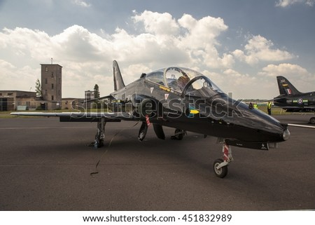 POZNAN, POLAND -SEP 23, 2015: The BAE Systems Hawk is a British single-engine, jet-powered advanced trainer aircraft. Produced by its successor companies, British Aerospace and BAE Systems - stock photo