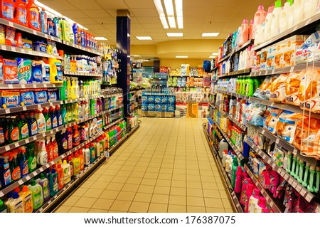 POZNAN, POLAND - SEPTEMBER 17, 2013: Cleaning products department of a Piotr i Pawel supermarket - stock photo