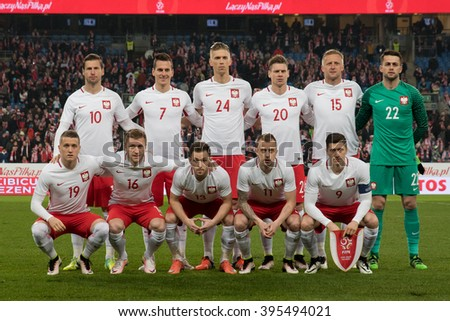 Poznan, Poland. 23th March, 2016. International Football friendly match: Poland vs Serbia. Team of Poland before match.
