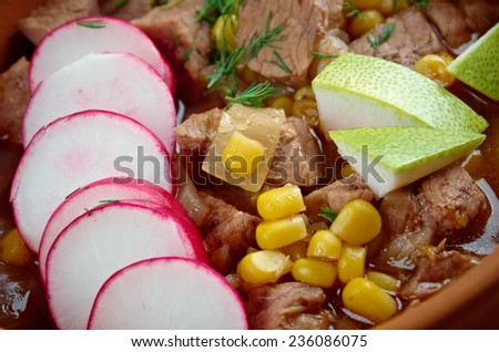 Pozole  Poxo  traditional soup Mexico.broth rich soup made with pork, red chiles, radishes, cilantro - stock photo