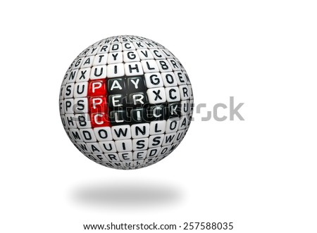 PPC text , pay per click written on   cubes on 3d sphre - stock photo