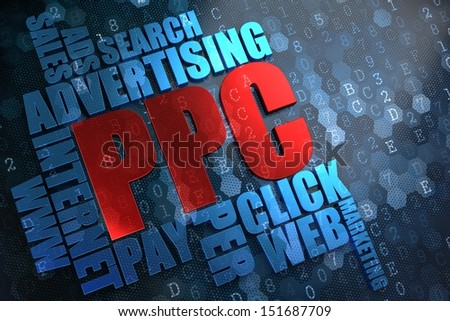 PPC - Wordcloud Concept. The Word in Red Color, Surrounded by a Cloud of Blue Words. - stock photo