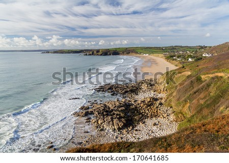 Praa Sands Beach from Lesceave Cliff Cornwall England UK Europe