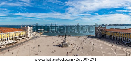 Praca do Comercio (Commerce square) and statue of King Jose I in Lisbon, Portugal in a summer day - stock photo