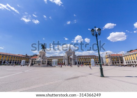 Praca Do Comercio is located in the city of Lisbon, Portugal. Situated near the Tagus river, the square is still commonly known as Terreiro do Paco. - stock photo