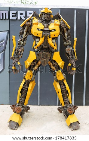 PRACHUABKIRIKHAN - FEBRUARY 14: The Replica of Bumblebee robot made from iron part of a Car display at Huahin on February 14, 2014 in Prachuabkirikhan, Thailand. - stock photo