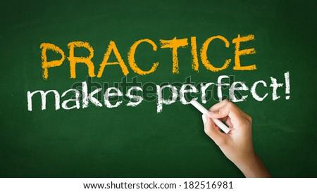 Practice Makes Perfect Chalk Illustration - stock photo