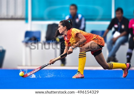 Pradeepa Nilmini of Sri Lanka in action during The 4th Women's AHF Cup 2016 between Sri Lanka and Indonesia at Queen Sirikit Sports Stadium on October 02,2016 in Pathum Thani Thailand