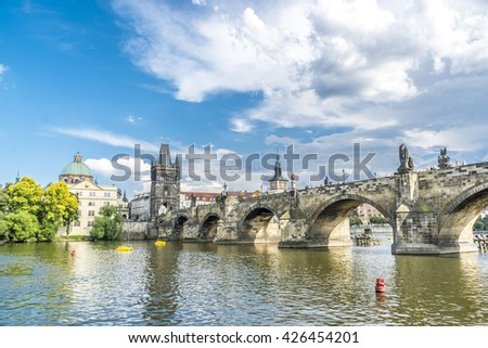 Praga, Czech Republic, Europe - July 07, 2014:  Charles Bridge over the moldova River with the Old City Tower
