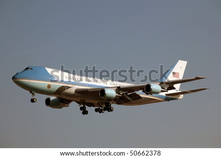 PRAGUE - APRIL 8: Air Force One lands on April 8. 2010 in Prague. President Obama is expected to sign strategic agreement 'START' between US and Russia. - stock photo