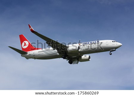 PRAGUE - APRIL 26: B737 Turkish Airlines lands PRG in Prague, Czech Republic on April 26, 2009. Turkish Airlines is the national flag carrier airline of Turkey - stock photo