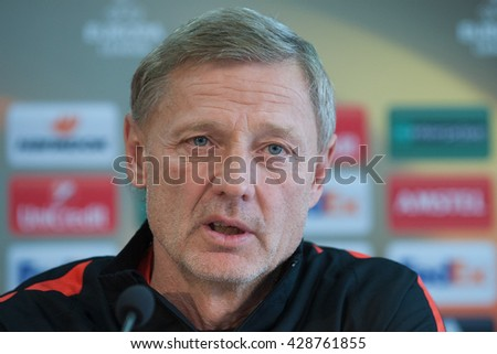 PRAGUE - APRIL 14: Coach of AC Sparta Praha Zdenek Scasny prior to the European Football League match AC Sparta Praha vs Villarreal CF in Prague, Czech Republic, April 13, 2016.