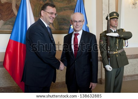 PRAGUE - APRIL 25: Czech prime minister Petr Necas (left) and President of the European Council Herman Van Rompuy (right) during meeting in Prague, Czech republic, April 25, 2013