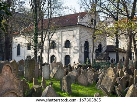 PRAGUE - APRIL 18: Old Jewish Cemetery is situated in Josefov quarter by Old-New Synagogue. Cemetery, established in the 15th century, is one of the oldest in Europe. Czech Republic, April 18, 2010 - stock photo