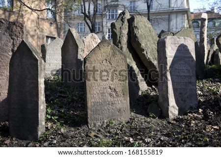 PRAGUE - APRIL 18: Old Jewish Cemetery lies in Josefov quarter by Old-New Synagogue. Cemetery is one of the oldest in Europe, established in 15th century. Czech Republic, April 18, 2010
