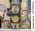 Prague Astronomical Clock, built in to one side of the Old Town Hall Tower, with a bit of pavement in front. Prague, Czech - stock photo