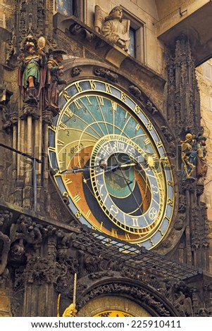 Prague Astronomical Clock, medieval astronomical clock on the southern wall of Old Town City Hall in the Old Town Square, Prague, Czech Republic. - stock photo