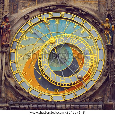Prague Astronomical Clock (Orloj) in the Old Town of Prague  - stock photo