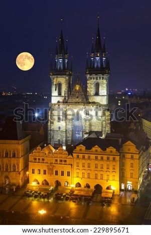 Prague at  moonlit night - stock photo