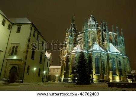 Prague at night - stock photo