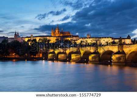 Prague at night, Charles Bridge and the Castle from across the river - stock photo