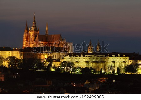 Prague at Night, Czech republic - stock photo