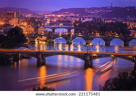 Prague at Twilight, view of Bridges on Vltava . Night photo. - stock photo