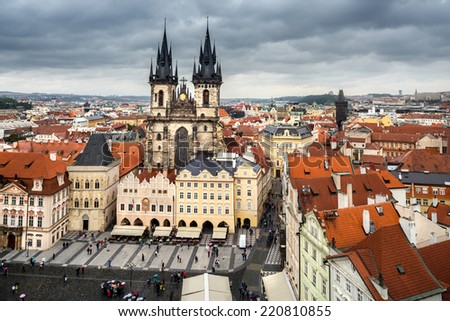 Prague, bird view from Town Hall tower on a rainy day - stock photo
