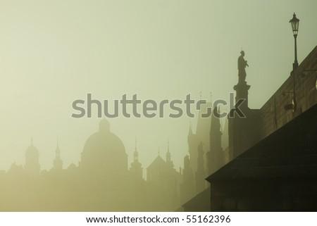 Prague bridge at dawn - stock photo