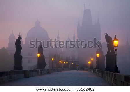 Prague bridge at dawn - stock photo