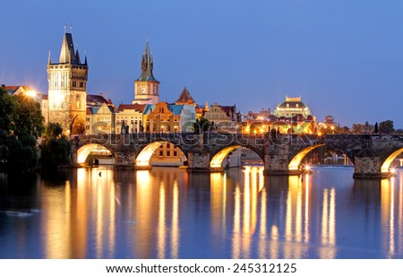 Prague bridge at night - stock photo