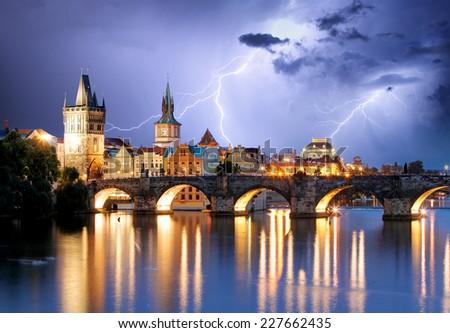 Prague bridge at storm - stock photo