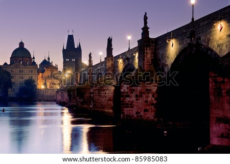 Prague bridge at sunrise - stock photo