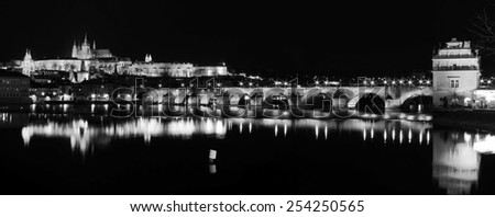 Prague castle and Charles Bridge in Prague, Czech Republic - stock photo