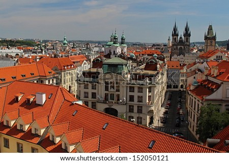 Prague Castle and Red Roofs, Czech republic - stock photo