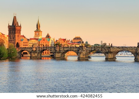 Prague Castle and Vltava river at sunset, Czech republic