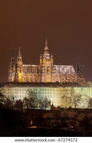 Prague Castle at night, Czech Republic - stock photo