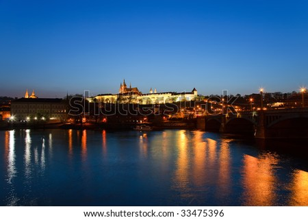 Prague Castle at night, Prague, Czech Republic