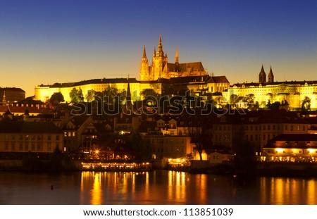 Prague castle at sunset - stock photo