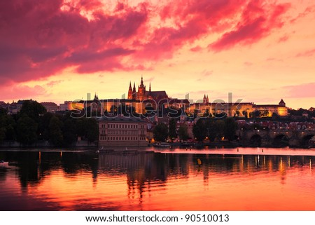 Prague Castle at Sunset - stock photo