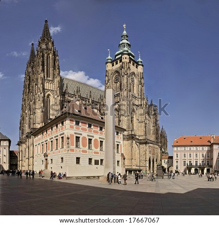 Prague castle,cathedral of st.Vitus - stock photo