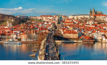 Prague Castle, Charles Bridge and the Little Quarter, Prague, Czech Republic  - stock photo