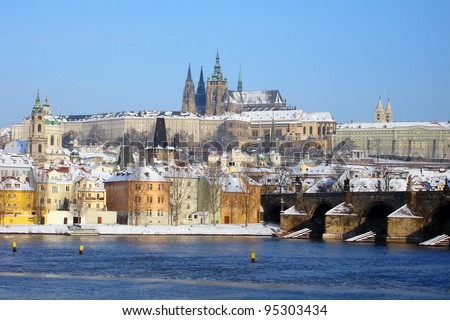 Prague Castle, Lesser Town and Charles Bridge in winter with snow
