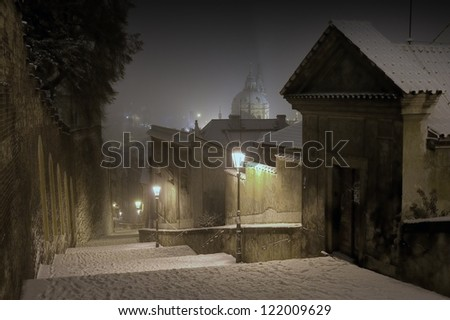 Prague Castle Stairway Leading to The Old Town of Prague in Winter Night, Czech Republic - stock photo