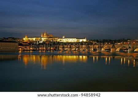 Prague Castle with Vltava River and Charles Bridge