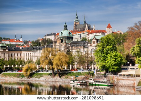 Prague Castle with Vltava river in Czech Republic - stock photo